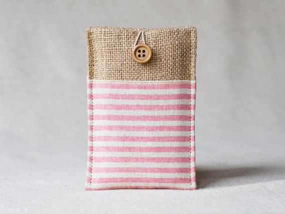 Fabric phone cover, smartphone case, burlap pouch, iphone / blackberry / nokia / any phone - pink stripe, button closure