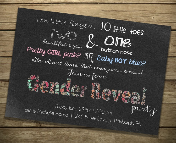 82 best images about heather's gender reveal party on pinterest, Baby shower invitations