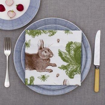 Rabbit & Cabbage Napkin Single