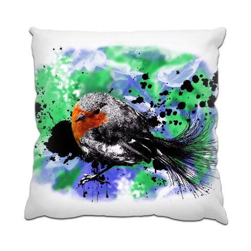 'Robin' Cushion by hoganfinland at zippi.co.uk  #art #illustrations #birds #robin #redbreast #feathers #beaks #smallbirds #small #splatter #pillows #cushions #homedecor #zippi #indoors #interiordesign #ideas #design