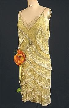 c. 1927  MARTHA WEATHERED  Spectacular Beaded Flapper Dress
