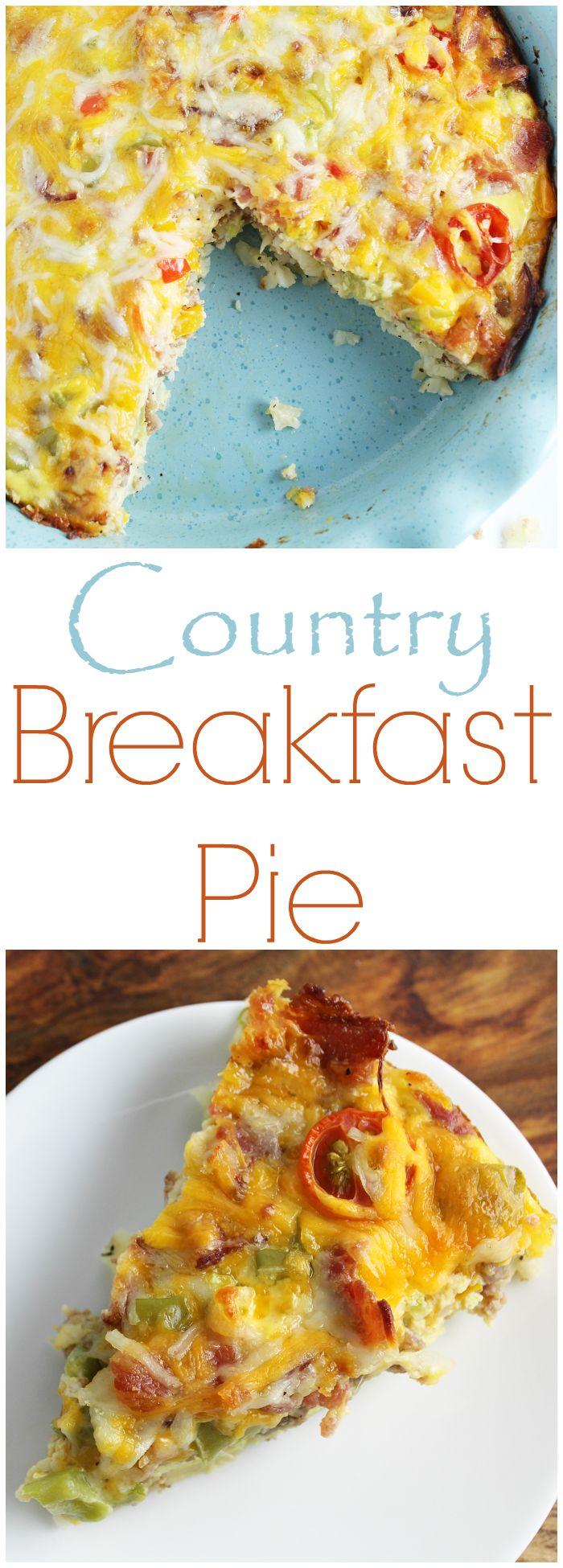Country Breakfast Pie is a filling breakfast that looks fancy, but is easy to…