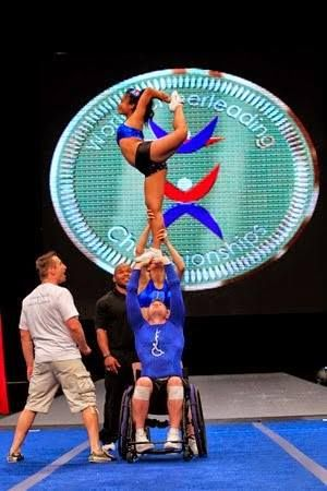 A Look at the World's First Wheelchair Partner Stunt at the Word's Cheerleading Championship .   Don't let your Handicap stop YOU!   www.SelfCatheters.com  #Wheelchair #Cheerleading #Championship #Handicap