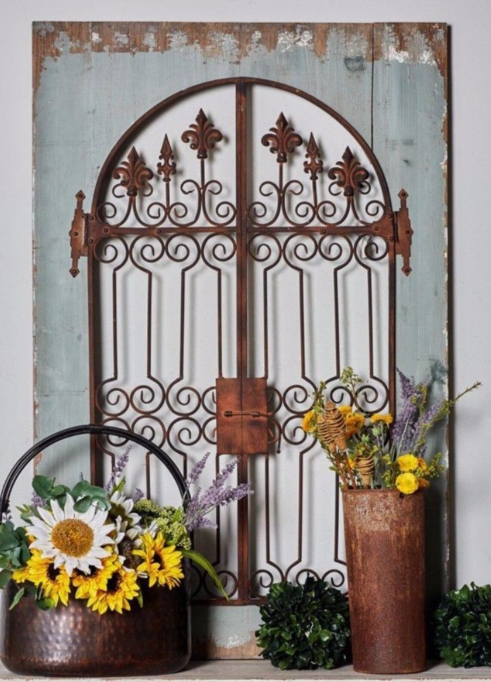 Distressed Vintage French Country Wood Metal Garden Gate Arch