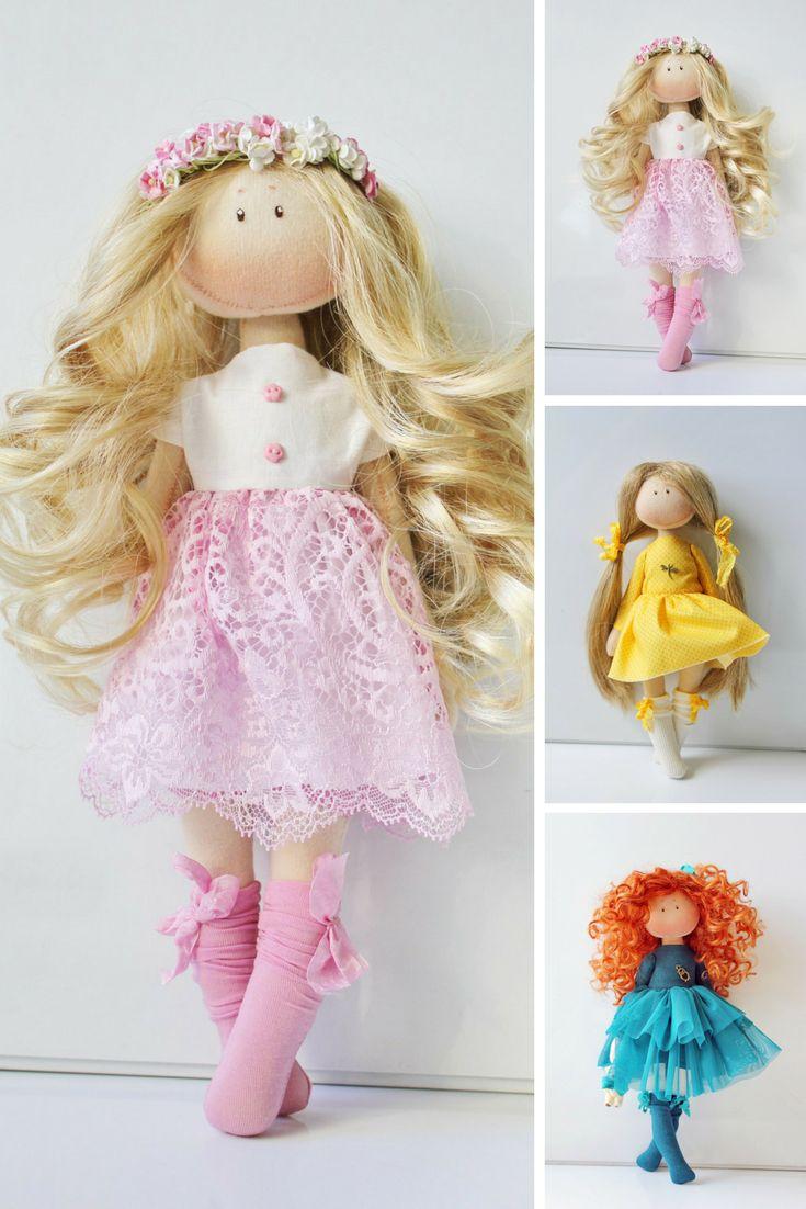 Muñecas Bambole Handmade doll Soft doll Textile doll Rag doll Interior doll Art doll Cloth doll Pink doll Tilda doll Fabric doll by Olesya N