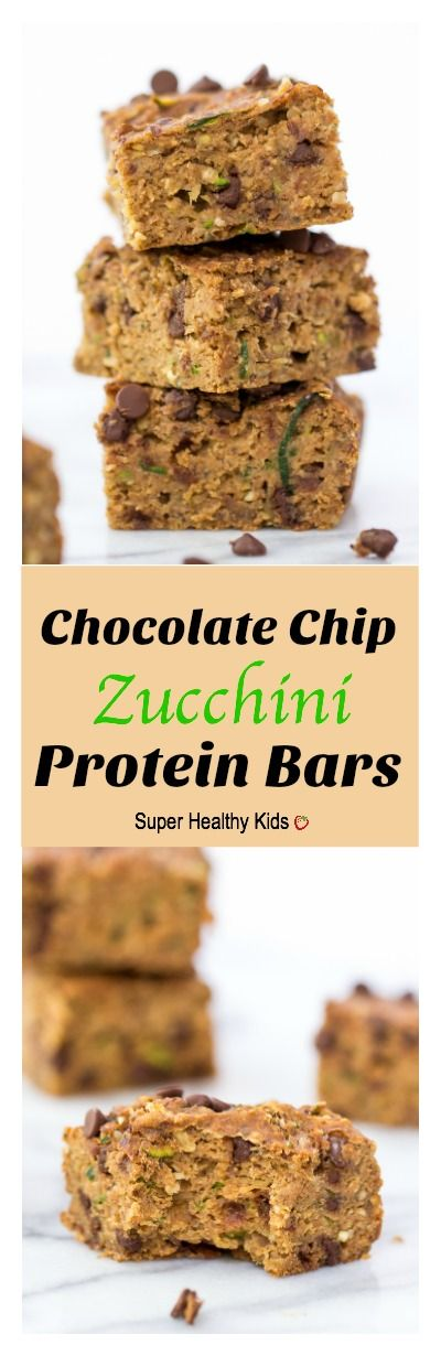 Chocolate Chip Zucchini Protein Bars. Tons of protein from natural sources. No protein powder here! http://www.superhealthykids.com/chocolate-chip-zucchini-protein-bars/