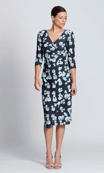 Carolina wrap dress in Aqua lily