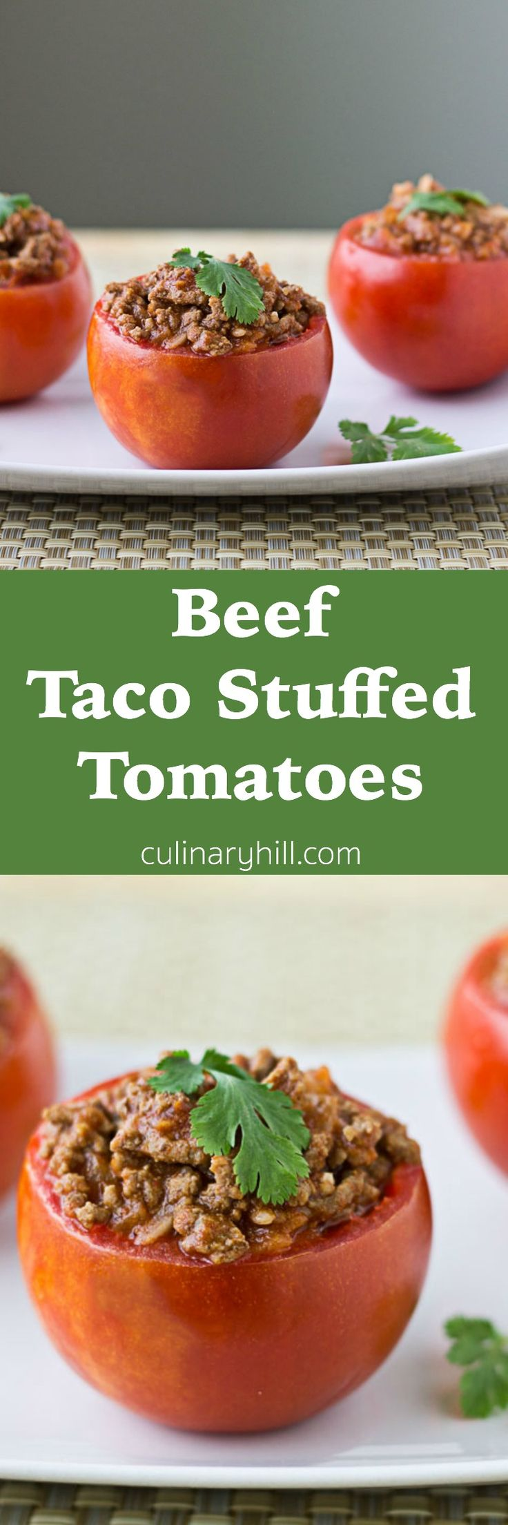 Beef Taco Stuffed Tomatoes combine seasoned meat with rice and a tomato sauce blend to make a tasty filling for juicy tomatoes. Ready in about 25 minutes and naturally gluten free!