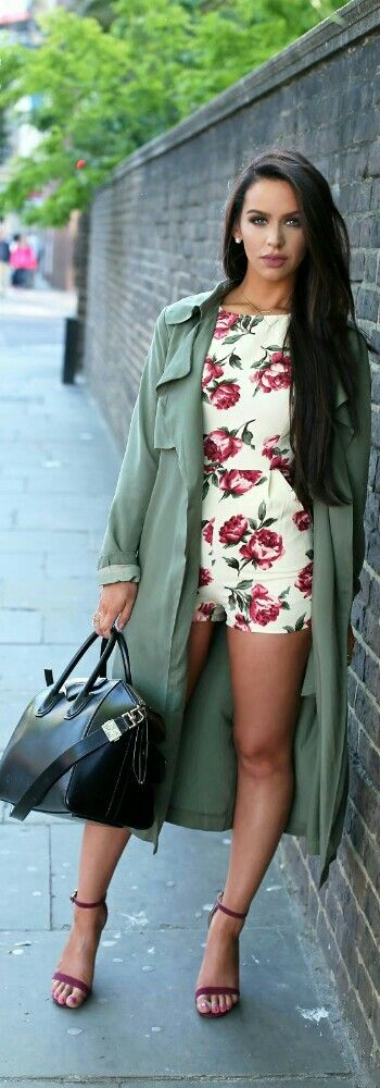 Floral Romper & Trench Coat / Fashion by The Beauty Bybel