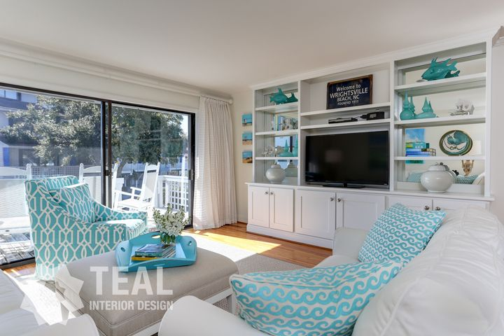 coastal family room with turquoise accents