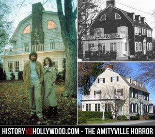 The Amityville Horror house at History vs. Hollywood - The movie house (left) vs. the real house in the 1970s (top) and the house today (bottom). See more Amityville house photos at: http://www.historyvshollywood.com/reelfaces/amityvillehorror1979.php