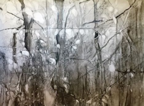 Margery Thomas Mueller, india ink and graphite on Yupo