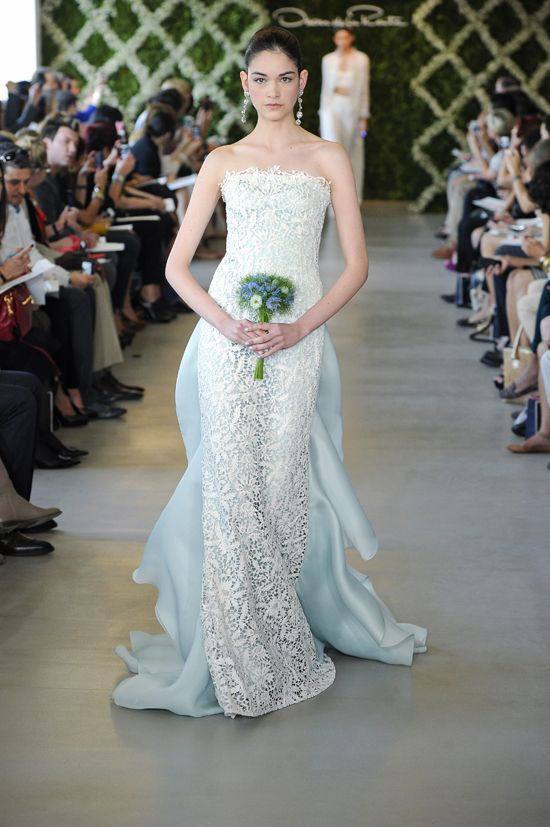 Oscar De La A Blue Crochet Overlay Wedding Dress Pinterest Dresses And Gowns