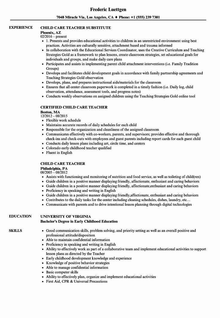 Child Care Teacher Resume Best Of Child Care Resume