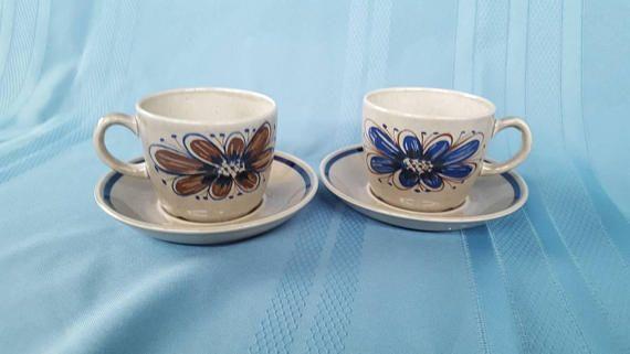 Two Stavangerflint Florry cup and saucer set. Design by Nils Aarrestad Siversten
