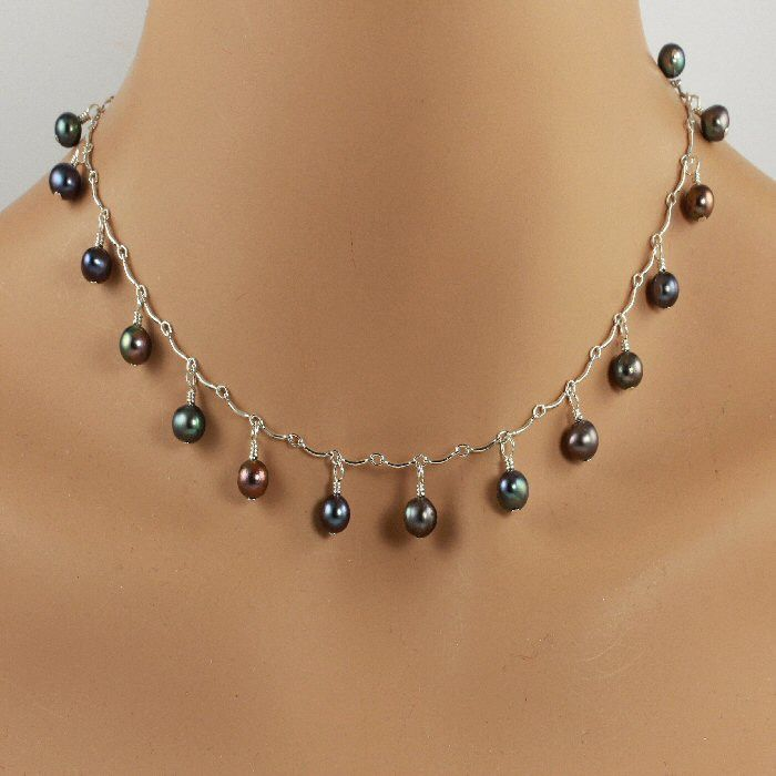 Beautiful colors in this peacock freshwater pearl sterling silver scalloped chain necklace.  BUY NOW http://jewelrybytali.com/products/peacock-freshwater-pearl-sterling-silver-chain-necklace