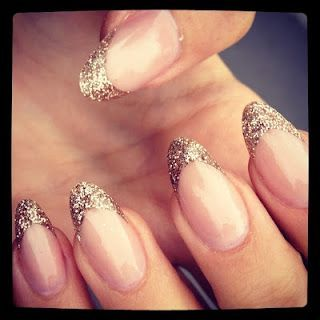 Almond nails with glitter- I like it because I pretty much already file my nails in an almond shape due to the fact that most of my nails grow in rounded rather than more straight