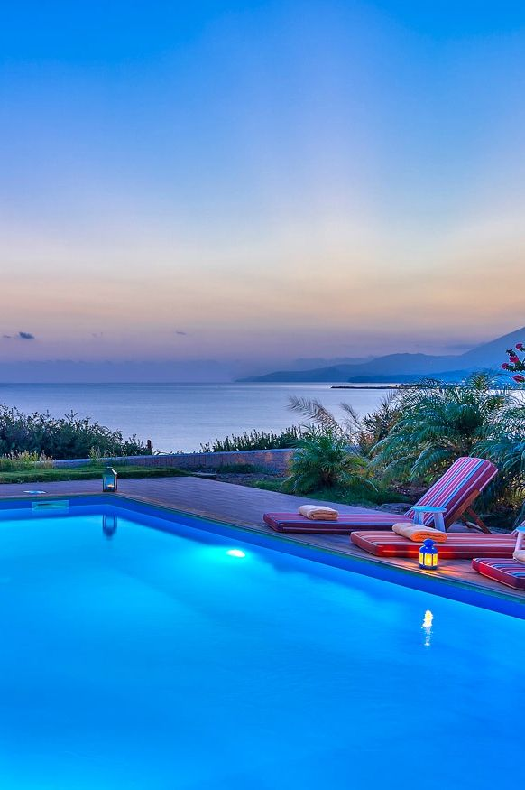 Dreamy evenings next to the sea in our luxury 4-bedroom villa in #Crete!  #luxury #travel #beach