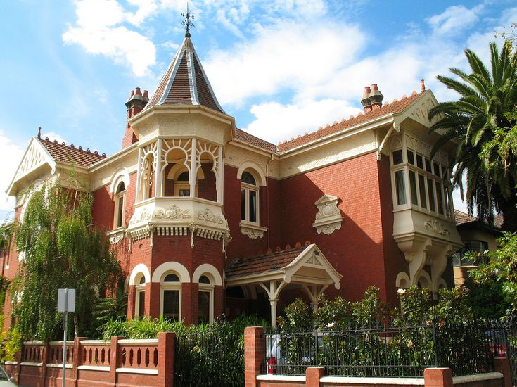 This beautiful Edwardian era, Queen Anne styled mansion, originally known as Homerton House, is located in the elite Melbourne suburb of South Yarra. Built in 1906, the red brick building features a prominent slate roofed tower with iron finial.