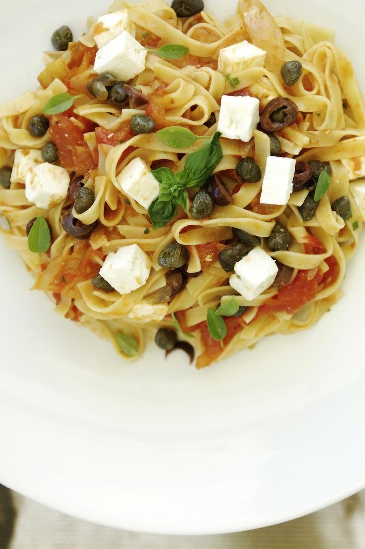 Greek Tagliatelle With Fresh Tomatoes Olives Feta Cheese Caper