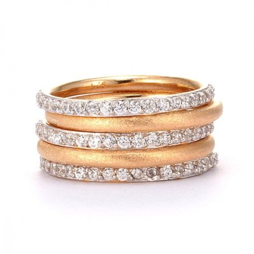 SusanB.flawless Simulated Diamond Stackable Bands Set of 5 Rings 18K Gold over Sterling Silver Item # R1MZXX $85.00 Take high fashion to new heights with a stunning stack of gorgeous rings. This five-piece stack ring set features two 18K gold-plated sterling silver bands with a satin finish, and three sparkling simulated diamond eternity rings that you can wear together, separately, or one at a time for endless fashion possibilities.