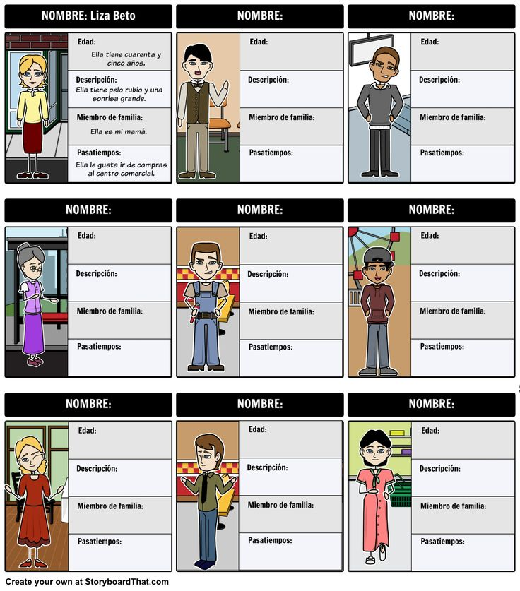 A common activity in Spanish class is for students to create a family tree or presentation. A great way to get them started is with a family map. Using stock characters as a before activity, students can fill out this character map to get in the habit of using the vocabulary of family members, descriptions, likes, dislikes, age, and gender.