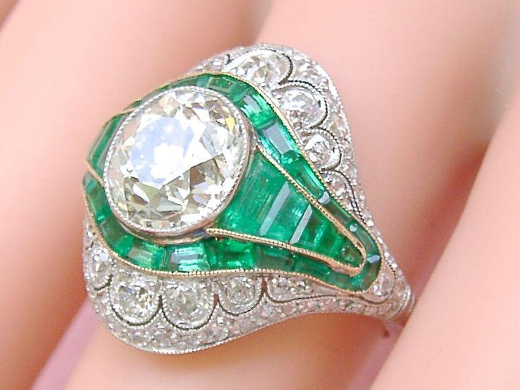 ESTATE ART DECO 3ct MINE DIAMOND 1.7ctw EMERALD PLATINUM COCKTAIL RING with CERT #Handmade #ARTDECOENGAGEMENTorCOCKTAILRING