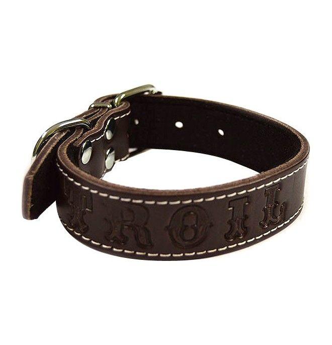 Collares para perros Personalizados Piel Vaquetilla Marron