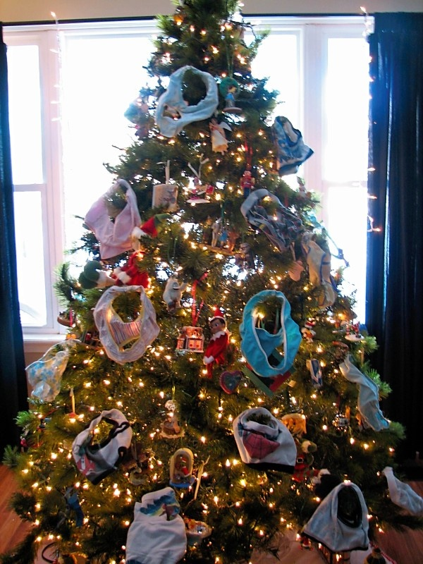 """Elf on a Shelf--The elves """"decorated"""" the tree with the kids' underwear!!!"""