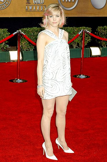 Pink-Streaked Pretty  The Notebook actress' red carpet style at the 2007 SAG Awards was the best combination of adorable dress, fabulous hair, and perfect accessories.