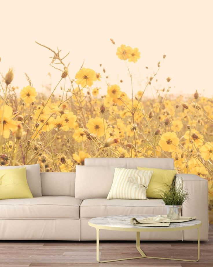 Vintage Yellow Flower Meadow Yellow Wallpaper Mural Wallpaper