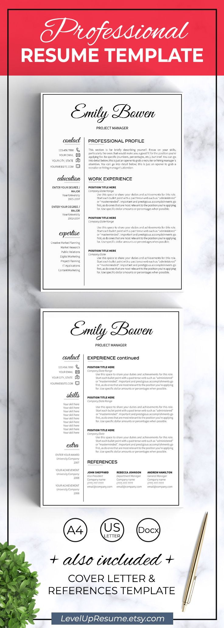 Modern resume template. Professional resume design. Career advice. Job search. Get hired!  Click on the link or save the pin to your board >>>>> #career #career advice #job #jobsearch #resume #resumetemplate #girlboss  . 2 page resume template Job resume Word template resume with icons Student resume Classic resume Elegant 1 page resume template word EB