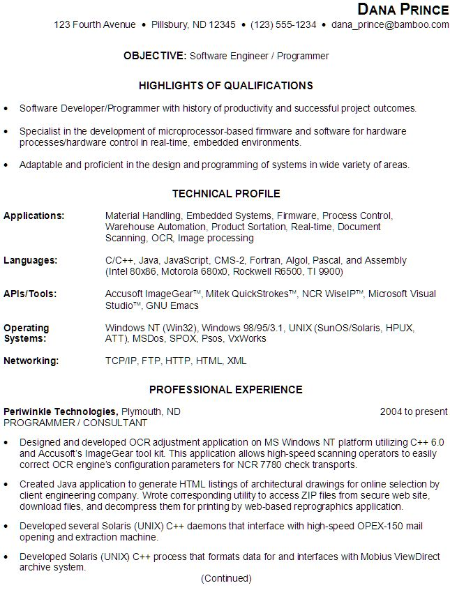 Sample Resume For Someone Seeking A Job As A Software Engineer
