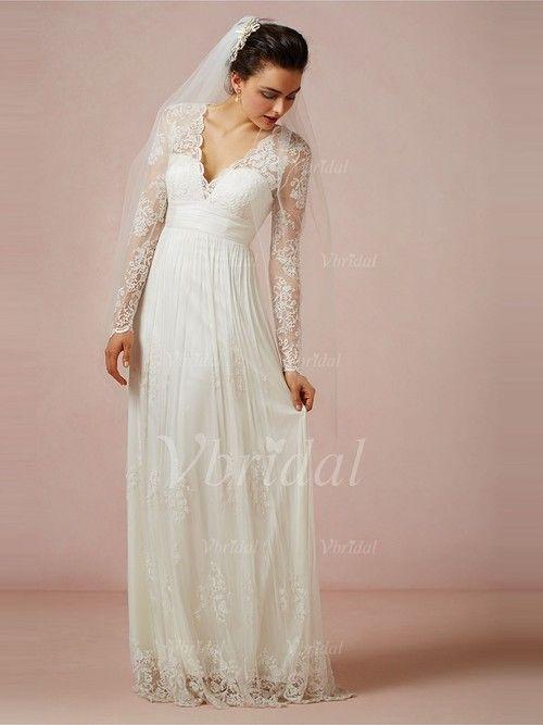 Brudekjoler - $159.99 - A-formet/Prinsesse V-hals Gulvlengde Tyll Brudekjole med Blonder Applikasjoner Blonder (00205003267)