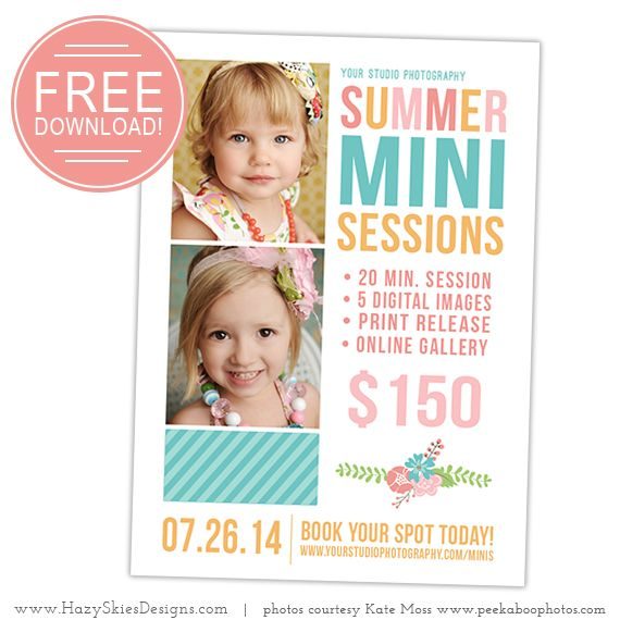 Free summer mini session template for photographers for Free photoshop templates for photographers