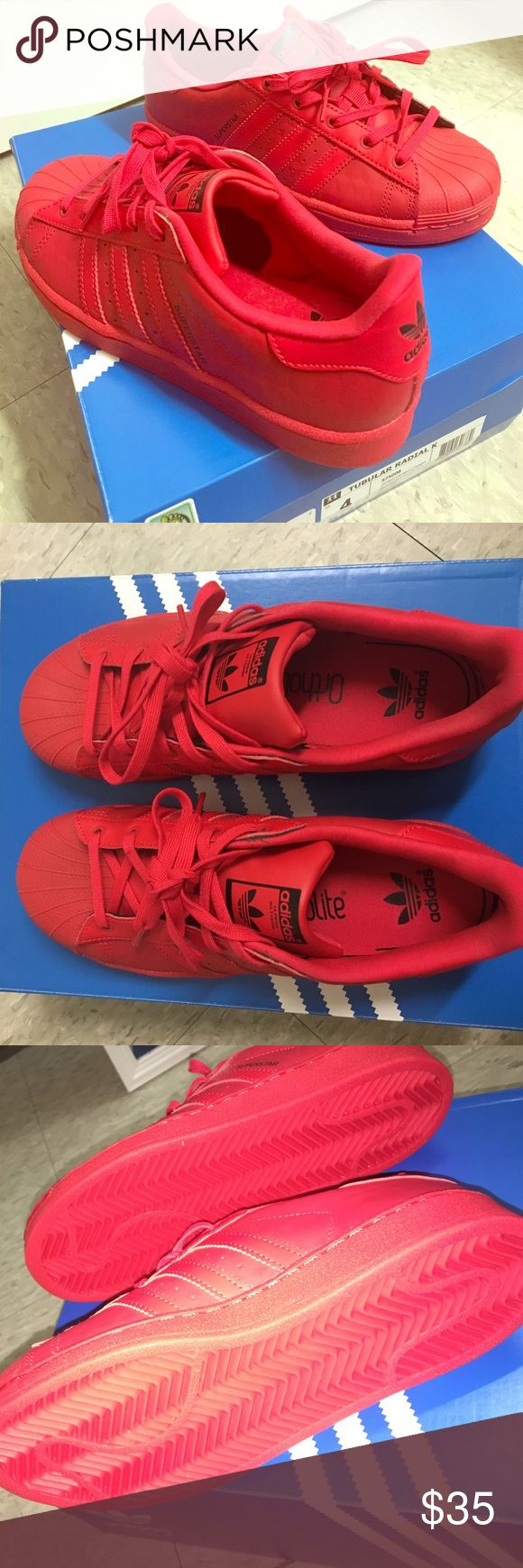 NEVER WORN ALL-RED ADIDAS SUPERSTAR  New Never worn Addidas Tubular Radial with Ortholite  ||   Super cute shoes! Look like the classic Addidas but they have a cool diamond-ish effect if you look closely at pictures. Unfortunately too small for me. Kids/Men's size 4 - Women's Size 6. Price is negotiable! Just want them gone, offers accepted. Box included if requested. Adidas Shoes Sneakers