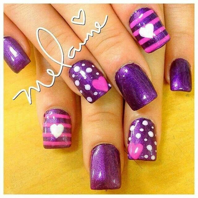 Purple Nails with Pink Stripes, Pink Hearts, White Dots and White Hearts