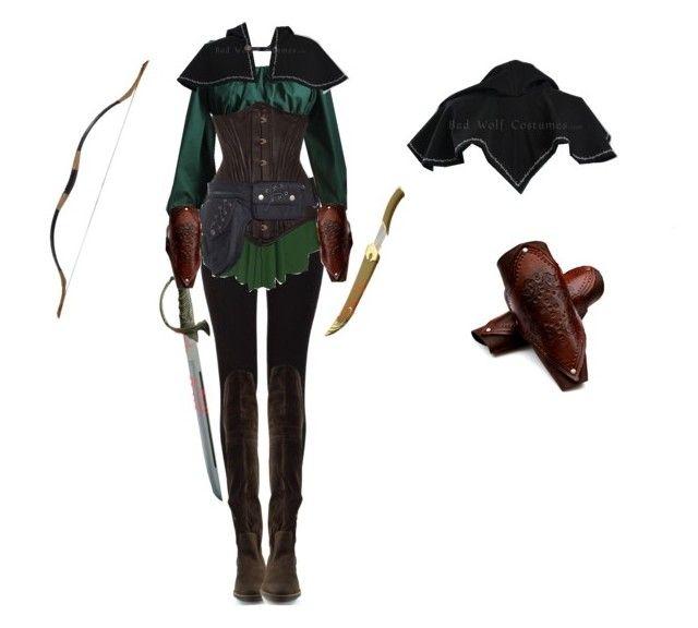 Elven Ranger Female by saradryden on Polyvore featuring Costume, warrior, elf, renaissance and elven
