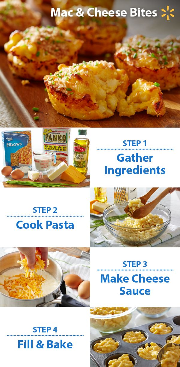 What's better than comfort food? Comfort food in a yummy handheld bite! Try easy Mac 'n Cheese bites at your football party and watch your team gobble 'em up. Mix macaroni with a cheddar & gruyere sauce mixture and bake. Got a Game Time recipe you love? You could win a trip to YouTube Space L.A. to help film a video! To enter, post a photo of your game snack on Twitter or Instagram with #walmartMVPcontest. Contest ends 11/9/15. Check out more Walmart Game Time recipes & tips.