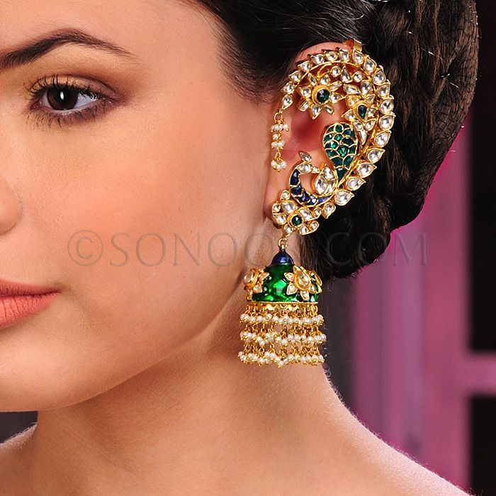 EAR/1/3406 Jhumki in dull gold finish studded with meena kari and kundan 	 $198	 £117