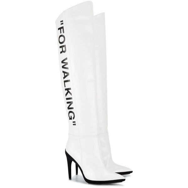 Off-White White For Walking 120 knee boots (€1.075) ❤ liked on Polyvore featuring shoes, boots, knee-high boots, pointed toe knee high boots, pointy-toe boots, white knee boots and over-knee boots