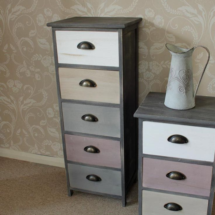 Boy Bedroom Storage: Wooden Tall Boy Storage Unit Chest Pink Cream Grey Bedroom