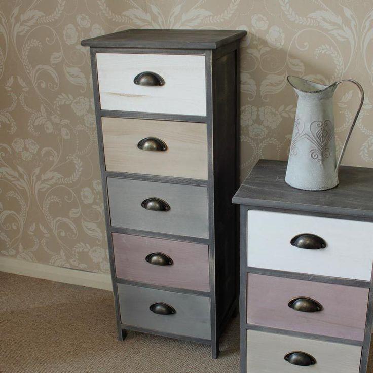 Wooden Tall Boy Storage Unit Chest Pink Cream Grey Bedroom