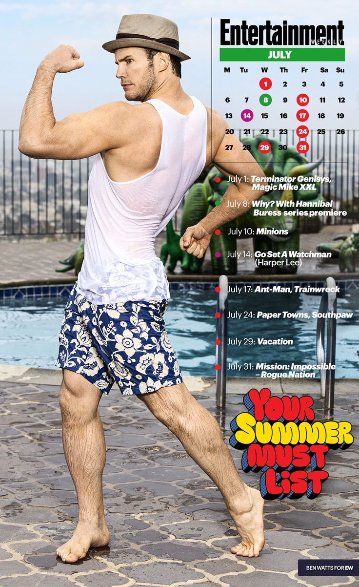 See a sexy, soaking-wet Chris Pratt on our ultimate summer entertainment July calendar. #MustHaveChrisPratt