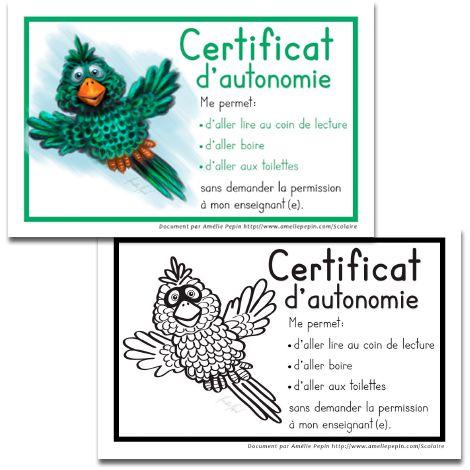 Certificat d'autonomie