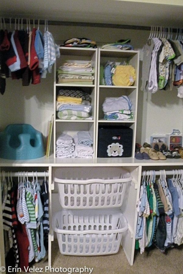 Try laundry baskets to help organize and add storage to a closet like Around the Farmhouse Table did for this baby nursery! Closet Organizing Hacks and Tips. Home Improvement and Spring Cleaning Ideas for your Nest. Ideas on Frugal Coupon Living.