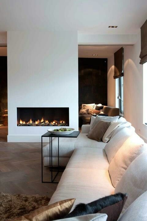 white modern fireplace.