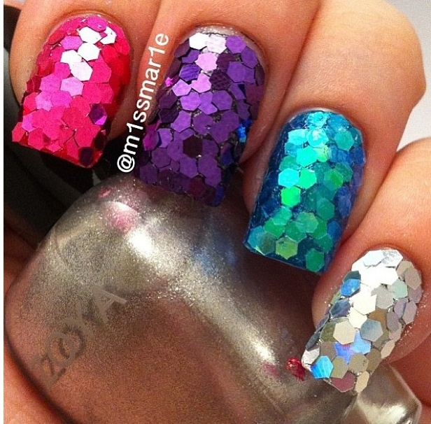 How To Apply Nail Polish With Large Glitter | Hession Hairdressing