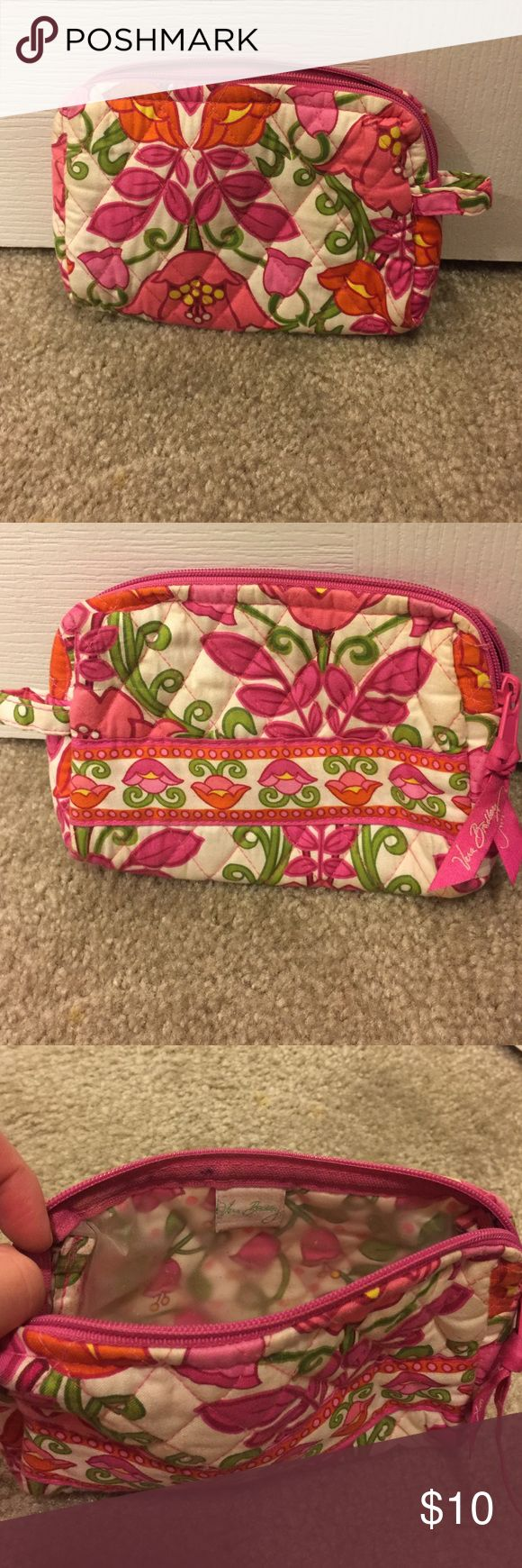 Vera Bradley make up pouch Pink, green, orange and white flower print. Purchased from the Vera Bradley store. Very clean. Comes from a smoke free home. Vera Bradley Bags Cosmetic Bags & Cases