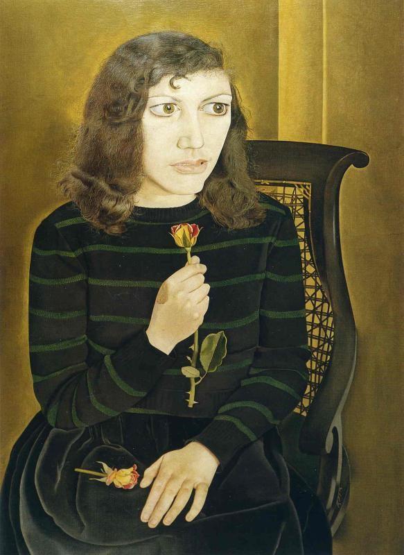 Художник - Люсьен Фрейд, картина «Девушка с розами»